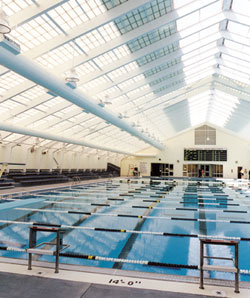 Midtown Community Centeru0027s Eight Lane, 50 Meter Pool Is Housed Within A  Structure Made Of Translucent Panels, Some Of Which Are Attached To A  Motorized ...