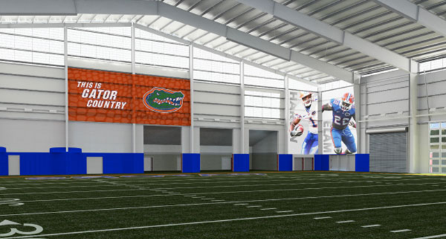 A rendering of Florida's indoor practice facility