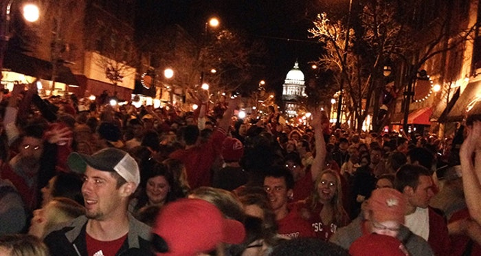 Thousands flooded Madison's State Street, yet no arrests had to be made. (Photo by Michael Gaio)