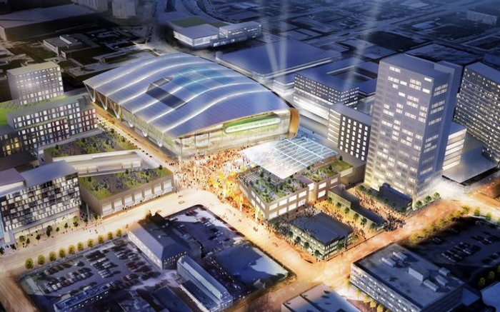An architectural rendering of the proposed new Bucks arena.
