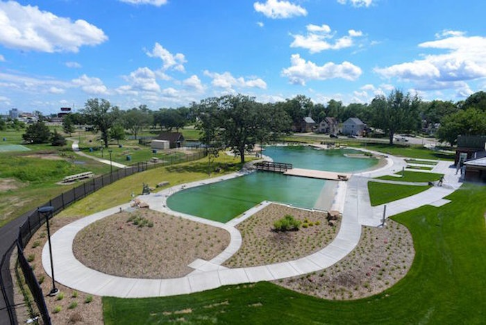 Aerial view of the Webber Park Natural Swimming Pool. Courtesy of the Minnesota Parks & Recreation Board.