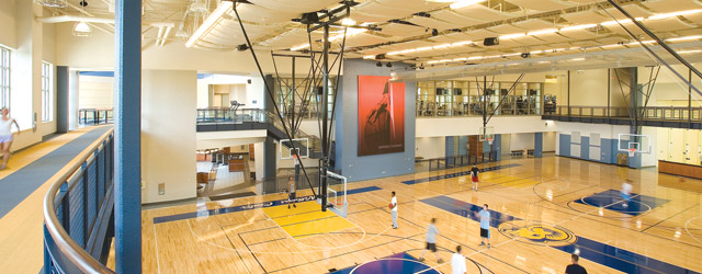Flexible gym design accommodates more than just basketball for Basketball gym designs and layout