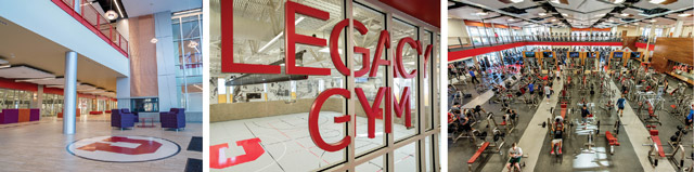 Photos of the University of Utah's gym branding.