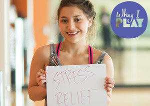 Campus Rec member plays for stress relief