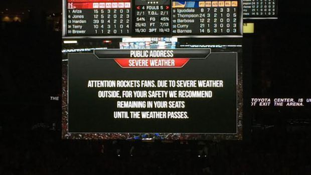 The Houston Rockets Issue A Public Address Asking Fans To Stay At The Toyota  Center Due To Flooding