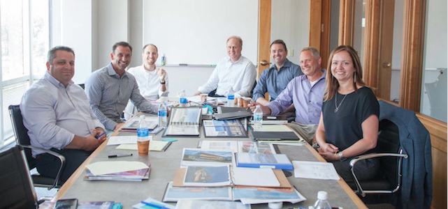 Pictured (from left to right): Keith Russeau - The Collaborative, David Sorg - OPN Architects, Kalman Nagy - Dewberry, Stephen Sefton - Perkins+Will, Clint Menefee - SmithGroupJJR, Troy Sherrard - Moody Nolan, Lynn Reda - Hughes Group Architects