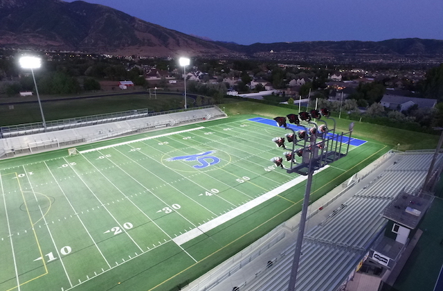 Juan Diego Catholic High School in Draper, UT, lit by Eaton's Ephesus Sports Lighting
