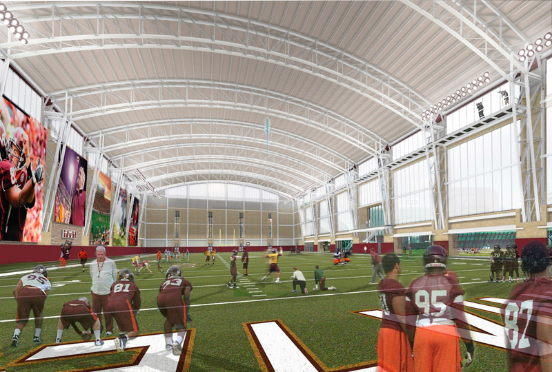 New projects uno arena falcon center virginia tech for Indoor facility design