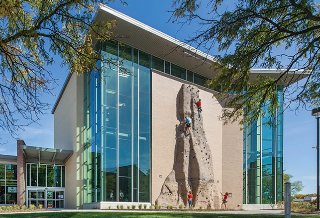 Nebraska Adventure Center Supports Exterior Climbing Wall